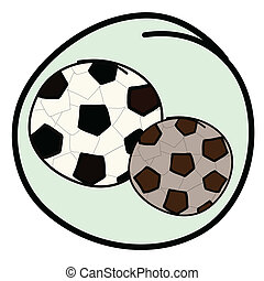 Two Soccer Balls on Green Round Background
