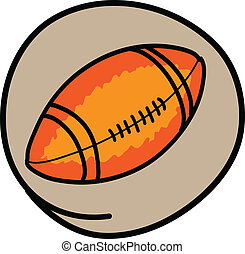 An American Football on Green Round Background - Sports...