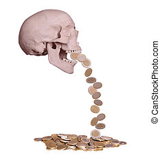 european coins drops out of scary skull