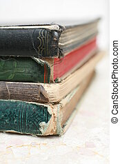 Ancient Books - Close-up of old books iso ated on white