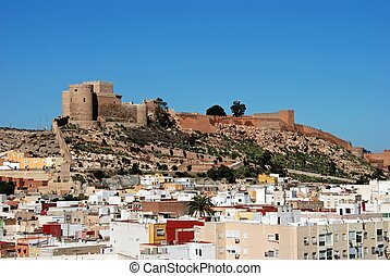 City and castle, Almeria, Spain. - Moorish Castle and view...