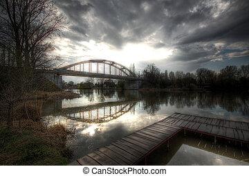 Bridge and pier - a bridge over the river