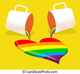 gay love card.Vector poster with two cups and abstract gay...