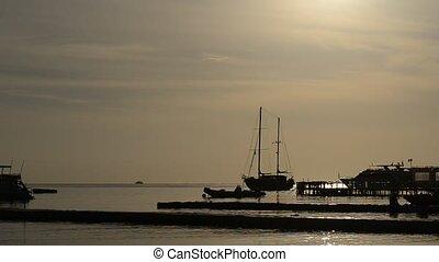 Sunrise at Naama Bay, Red Sea and motor yachts, Sharm el...