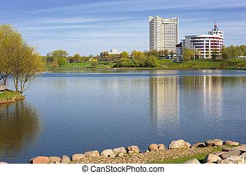 Minsk - River and buildings in Minsk, Belarus