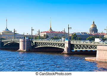 View of Saint Petersburg. Palace Bridge in summer day