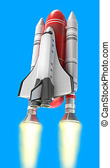 Shuttle launch on blue background. My own design.