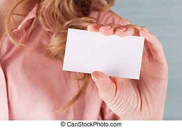 Business woman holding her visiting card - Image of business...