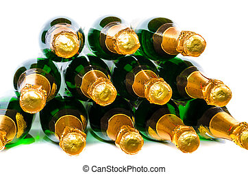 Many bottles of champagne