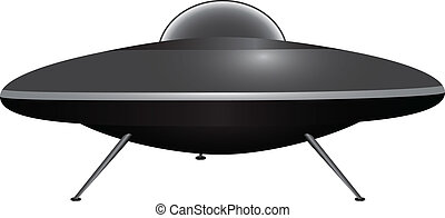 Flying saucer on the outrigger supports Vector illustration...