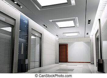 3d elevator lobby rendering - modern design interior of...