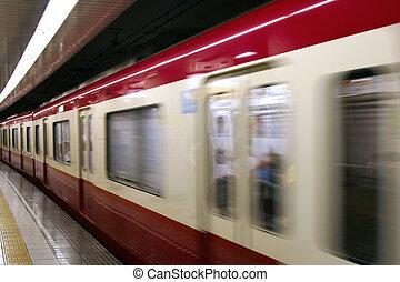 Tokyo subway train moving - A subway train in Tokyo Japan...