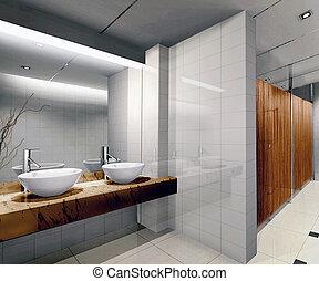 3d public bathroom - modern design interior of stylish...