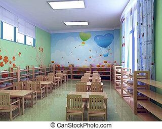 3d, Przedszkole, restauracja