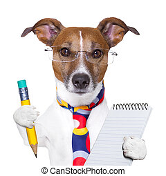 secretary dog - accountant dog with pencil and notepad