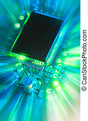 processor - close-up of computer printed circuit board