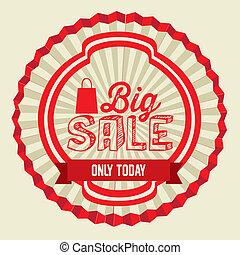 Big Sale - Illustration of Big Sale label, in red color,...