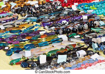 Jewelry from natural gems at store