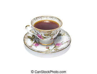 porcelain cup of red hibiscus tea
