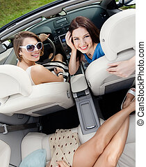 Top view of women in the car - Top view of happy women with...