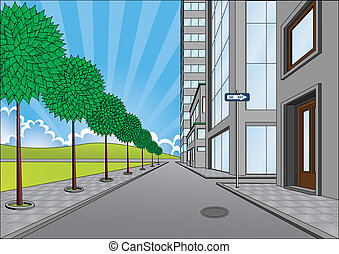 street on the outskirts of the city ,cartoon illustrations