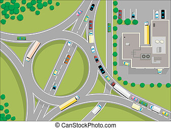 traffic roundabout, 2D view, cartoon vector illustrations