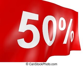 50 percent off on red flag