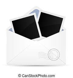 Open envelop with photo frame. Vector illustration.