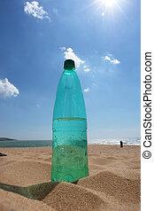 empty Bottle in the beach