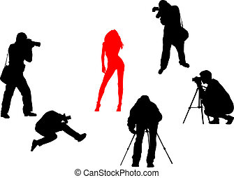 Vector Silhouettes of photographers and fashion model -...
