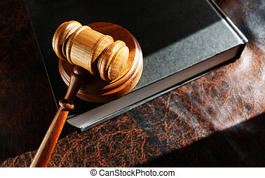 gavel and lawbook - judge's legal gavel on a law book...