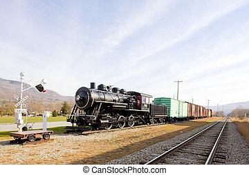steam train in Railroad Museum, Gorham, New Hampshire, USA