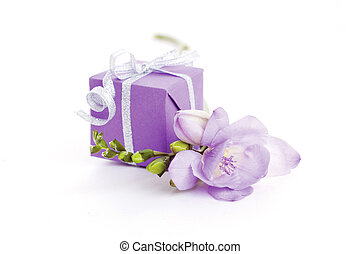 gift box - violet freesia flower and gift box