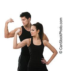 dois, esportiva, pessoas, mostrando, bíceps