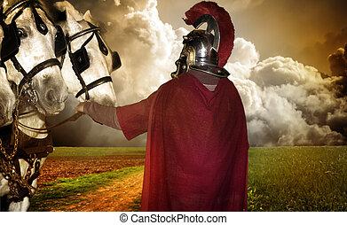 Retrato, legionary, soldado, cavalos