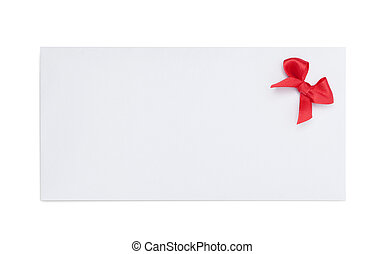 Envelope with red ribbon bow, isolated on white. Symbol of...