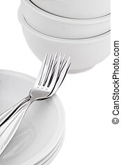 a dinner plate with a fork