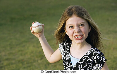 Cute young girl with a baseball - Cute young girl in summer...