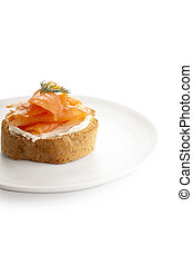 biscuit with smoked salmon