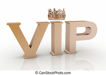 VIP abbreviation with a crown 3D text isolated