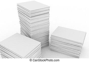 big pile of paper on white background