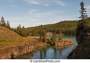 Whitehorse rapids on Yukon river in Miles canyon
