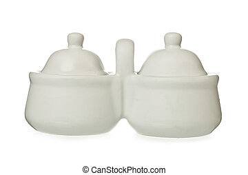 coffee and sugar pots - Image of white ceramic coffee and...
