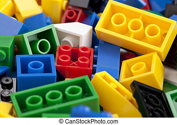 colorful lego bricks - Close-up image of colorful lego...