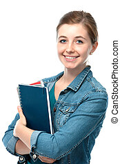 young student girl with exercise books - Charming young...