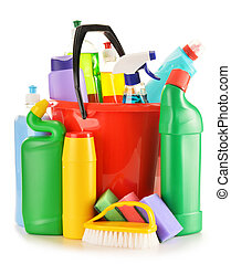 Detergente, botellas, aislado, blanco, químico,...