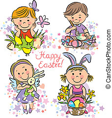 Illustration kids celebrate Easter. Contains transparent...