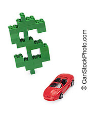 dollar sign lego with a red car on the side