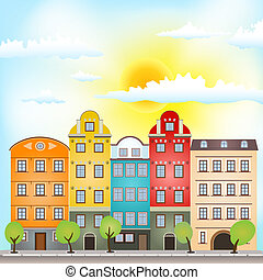 retro houses with sun and clouds - retro houses with bright...