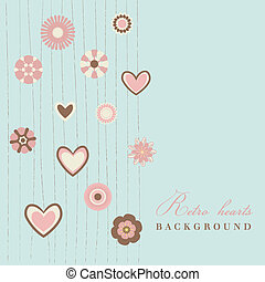 retro flowers with hearts blue background